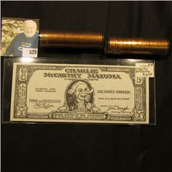 """(2) Gem BU Rolls of 1960 D Large Date Lincoln Cents in plastic tubes; & a """"Charlie McCarthy Mazuma"""""""