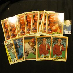 (17) 1970-80 era Pete Rose Baseball Cards. Various years and conditions.