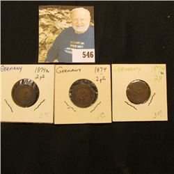 1874A, C, & D mintmarked Germany Two Pfennig Coins, VG-Fine.