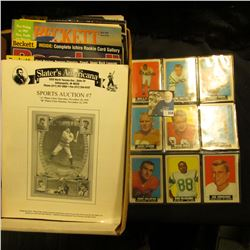 Plastic page with a group of (9) Old Football cards dating to 1964; & a group of Beckett & Slater's