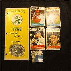 """""""Oakland A's 1968 Press Radio TV Guide""""; & (50) or more 1969 Topps Baseball Cards, assorted players."""