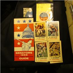 """""""1968 Senators Guide book and 1969 & 70 Stickers; and a group of Baseball cards put out by KMOX Radi"""