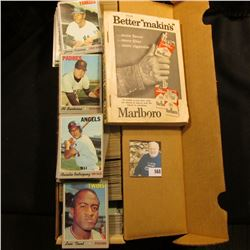 """14"""" Card Stock Box about full of 1970 Topps Baseball Cards; & 1959 edition """"Official Baseball Guide"""""""