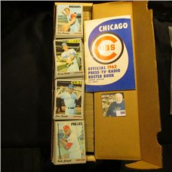 """14"""" Card Stock Box about full of 1970 Topps Baseball Cards; & 1962 edition """"Chicago Cubs Official 19"""