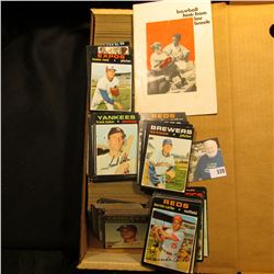 "14"" Card Stock Box about full of 1971 Topps Baseball Cards; & a small booklet ""Baseball hints from L"