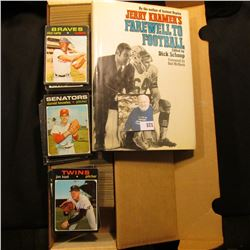 """14"""" Card Stock Box about full of 1971 Topps Baseball Cards; & a hardbound book with dust cover title"""