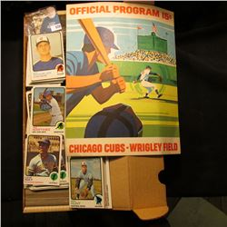 1971  Official Program 15c Chicago Cubs Wrigley Field; & 14  Card Stock Box 90% full of 1973 Topps B
