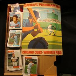 "14"" Card Stock Box 80% full of 1974 Topps Baseball Cards & 1971 ""Official Program 15c Chicago Cubs W"