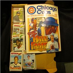"1983 Chicago Cubs Official Souvenir Program Magazine; & 14"" Card Stock Box 80% full of 1977 Topps Ba"