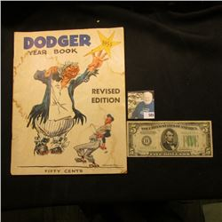 """Stained, but here it is """"1955 Dodger Year Book Revised Edition"""", originally sold for Fifty Cents; &"""