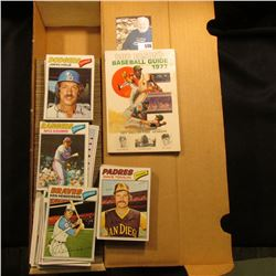 """Bob Elson's Baseball Guide 1977 Hall of Fame Members""; & 14"" Card Stock Box full of 1977 Topps Base"