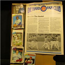 "1984 edition ""Die Hard Cubs Fan Club An International Society""; & 14"" Card Stock Box full of 1980 To"