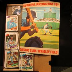 "1971 Official Program 15c Chicago Cubs Wrigley Field & 14"" Card Stock Box full of 1980 Topps Basebal"