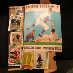 "1970 Official Program 15c Chicago Cubs Wrigley Field & 14"" Card Stock Box full of 1980 Topps Basebal"