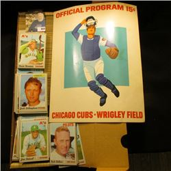 """14"""" Card Stock Box 80% full of 1972 Topps Baseball Cards; & a 1973 Used Official Program 15c """"Chicag"""