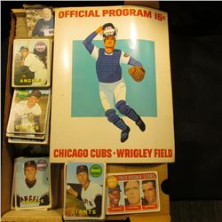 """14"""" Card Stock Box Partially full of 1969 Topps Baseball Cards; & 1973 Used Official Program 15c """"Ch"""