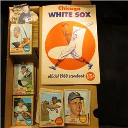 """14"""" Card Stock Box Partially full of 1968 Topps Baseball Cards; & a used """"Chicago White Sox official"""