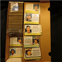 """14"""" Card Stock Box Half Full of """"Post"""" Cereal Box cut-out Baseball Cards from the 1960 era."""