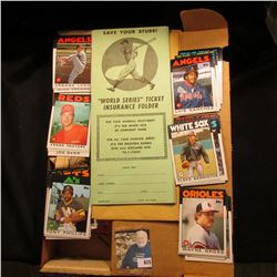 """World Series Ticket Insurance Folder"" and a 14"" Card Stock Box 3/4 full of mid 1980 Baseball Cards."