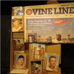 "14"" Card Stock Box half full of 1962 Topps Baseball cards; & March 1986 Vol.1, No. 1 ""Cubs Vine Line"