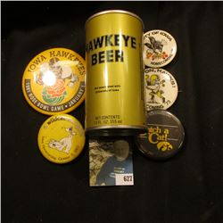 """(5) Different 1970-90 Hawkeye Homecoming Pin-backsl & a """"Hawkeye Beer Not Associated with University"""