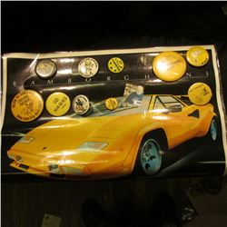 "17"" x 23"" Laminated Poster of a ""Lamborghini"" in Iowa Hawkeye Colors; & (10) Different 1970-80 Hawke"