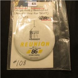 """3 3/8"""" 1986 Special Edition # 108 """"Reunion Oct. 11 Iowa Vs. Wisconsin 86 Homecoming Limited Edition"""""""