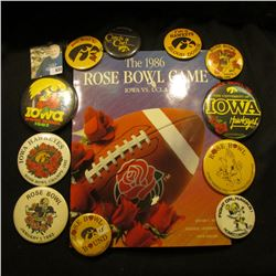 "(12) Different 1970-80 Hawkeye Homecoming Pin-backs; & ""The 1986 Rose Bowl Game Iowa Vs. UCLA"", slig"