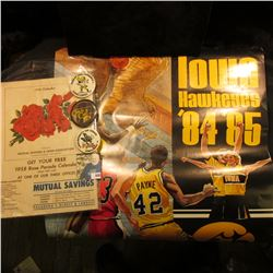 """""""Iowa Hawkeyes 84-85"""" Schedule Poster; 1958 Official Program """"Pasadena Tournament of Roses 69th Anni"""