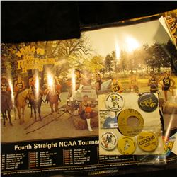 (3) Different Iowa Hawkeye Posters; (5) Different 1970-80 era Hawkeyes Pinbacks; & a Hawkeye 45 RPM