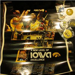 (3) Different Iowa Hawkeye Posters; & (5) Different 1950-80 era Hawkeyes Pinbacks.