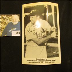 """Stan Musial autographed Baseball Card """"Compliments of Stan Musial & Biggie's Restaurant…St. Louis, M"""