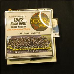 """Commemorative 1982 Rose Bowl Button Reissue 25th Anniversary Edition"" Pinback, no. 130 of 500. Doc'"