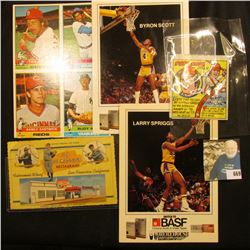 """1979 Topps Chewing Gum """"Pete Rose 1st Base"""" wrapper; Larry Spriggs & Byron Scott large format Basket"""