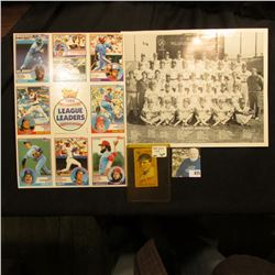 1986 Black & White photo of Milwaukee Brewers; 1983 uncut sheet of 1982 League Leaders (9 cards); &