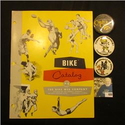 "1957 ""Bike Catalog The Bike Web Company"" & (3) different 1970-80 era Iowa Hawkeyes Pinbacks."