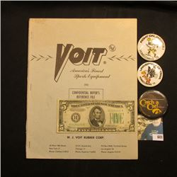 "1960 ""Voit America's Finest Sports Equipment"" catalog; Series 1934B $5 F.R.N. VF; & (3) different 19"