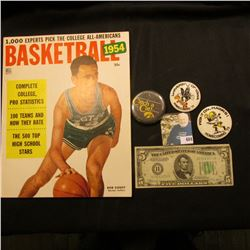 """""""1954 Basketball 25c"""" Magazine by Dell; Series 1934 D Five Dollar Federal Reserve Note from St. Loui"""