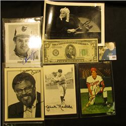 """Series 1934 B Five Dollar Federal Reserve Note from St. Louis, Mo.; """"Rosey Grier"""" Autographed card;"""