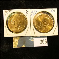 "2007 D ""George Washington"" & 2008 D John Quincy Adams U.S. Presidential ""Golden"" Dollars, Gem BU."