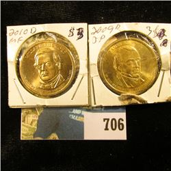 "2009 D ""James K. Polk"" & 2010 D ""Millard Fillmore"" U.S. Presidential ""Golden"" Dollars, Gem BU."