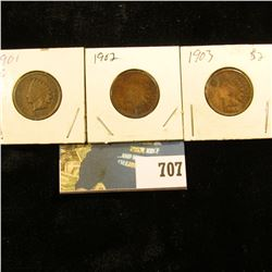 1901, 02, & 03 Indian Head Cents. G-VG.