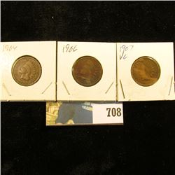 1904, 06, & 07 Indian Head Cents. G-VG.