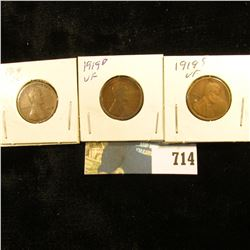 1919 P, D, & S U.S. Lincoln Cents, VF-EF.