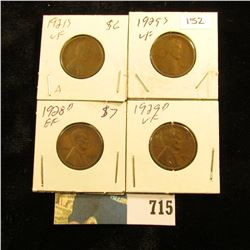 1921 S, 25 S,  28 D, & 29 D  U.S. Lincoln Cents. VF-EF.