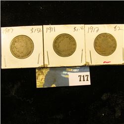 1907, 1911, & 1912 P U.S. Liberty Nickels. All solid Good condition.