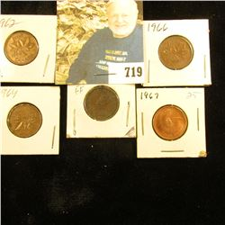 1933, 62, 64, 66, & 67 Canada Cent. Grades up to Uncirculated.