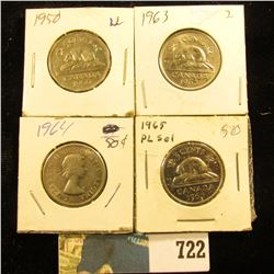 1950, 63, 64, & 65 Canada Nickels. Grades up to BU.