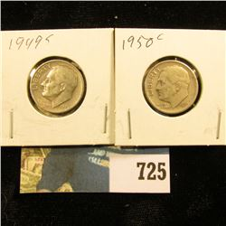 1949 S & 50 S Silver Roosevelt Dimes, Circulated.