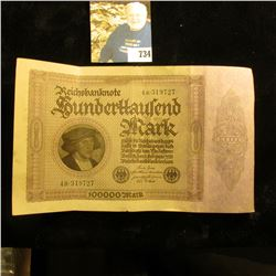 1923 German 100,000 Mark Banknote. Nice high grade.